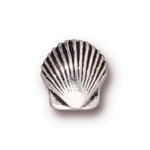 Tierracast Perle 10mm Small Shell versilbert 2 Stück