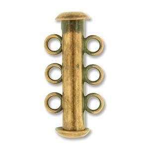 Rohrsteckverschluss 21mm 3-strängig Antique Copper plated 1 Stück