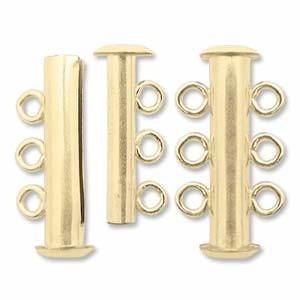 Rohrsteck-Verschluss 3-strängig 22mm goldfilled