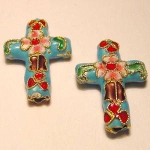 Cloisonne-Beads Kreuz 27x18mm türkis