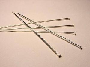 Headpin Nietenstift 50mm  20 Stück silberfarben Dicke 0,6mm