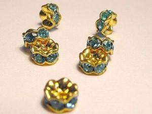 Strassrondell türkisfarbene Steine 6mm goldfarben