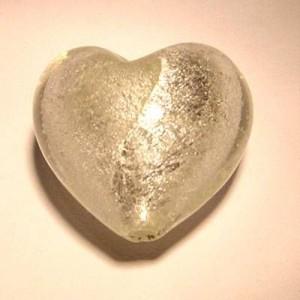 Glasperlen silverfoiled Herz 28x25mm crystal 10 Stück
