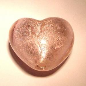 Glasperlen silverfoiled Herz 28x25mm rose 10 Stück