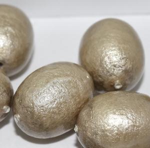 Paper Mache Bead Olive 24x18 mm Grey 1Stück