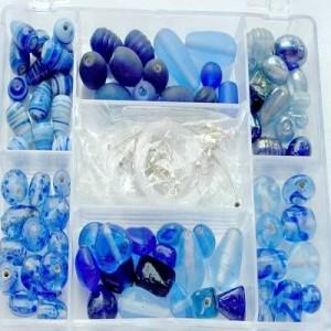 Glasperlen Mix L blau