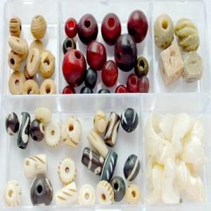 Glasperlen Mix M natur Holz- Muschel- Knochenperlen