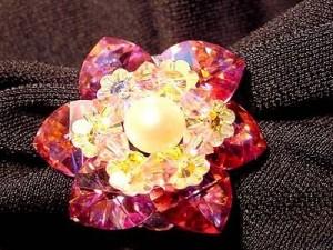Perlenset Lotusring, Rose Crystal mit Süßwasserperle