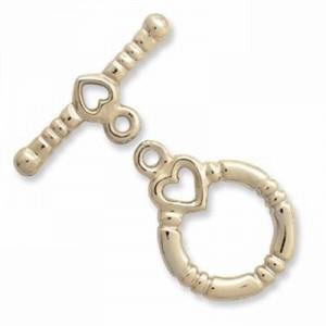 T-Verschluss 13mm Ring 19mm T-Stück Herzchen vergoldet 1 Stück im Beutel