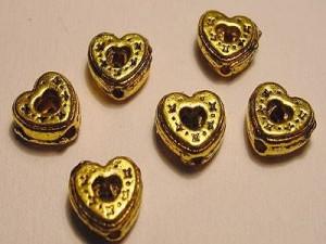 Herz 7mm goldfarben 10 Stück