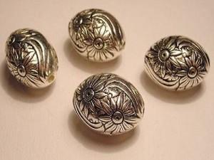 Metall Perlen Kunststoffkern 15x21mm Olive silberfarben mit Blüten