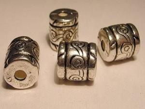 Metall Perlen Kunststoffkern 12x12,5mm Zylinder silberfarben gemustert