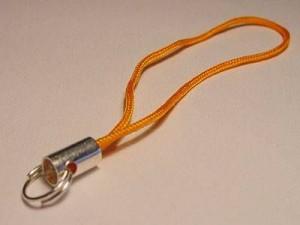 Handyanhänger 6cm Spaltring orange
