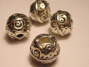 Metall Perlen Kunststoffkern 12mm Kugel silberfarben